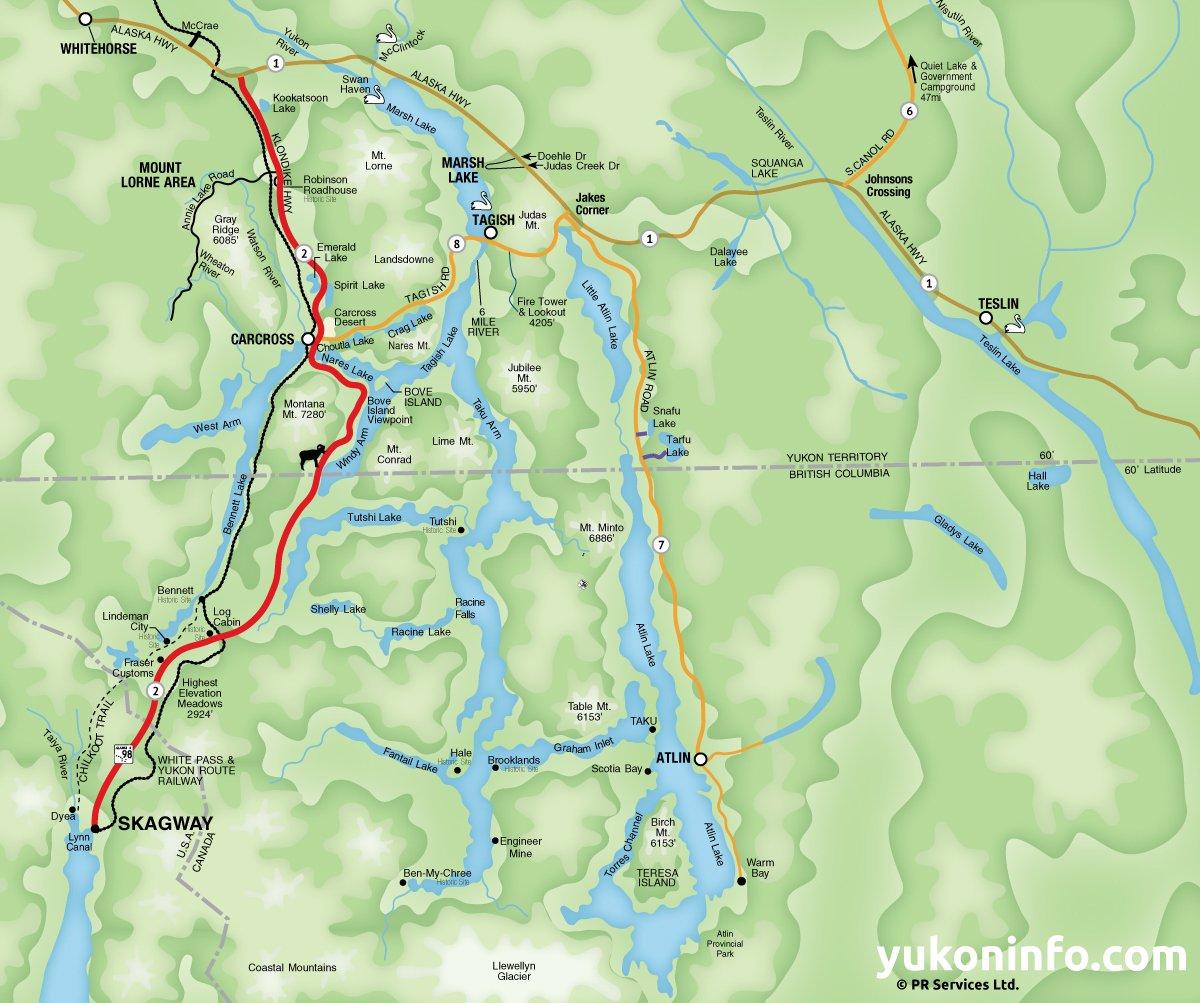 Southern Lakes Yukon Map - Yukon river map