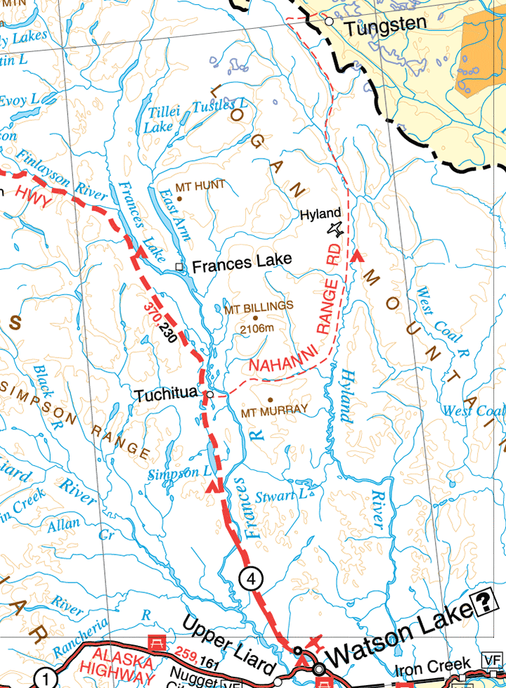 Map of Nahanni Range Road